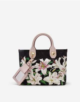 Dolce & Gabbana Small Capri Shopping Bag In Lily-Print Canvas