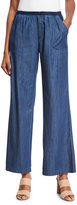 XCVI Giorgina Wide-Leg Chambray Pants, Blue