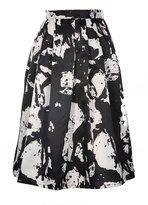 JollyChic Women's High Waist Floral Pleated Swing Midi Full Skirt with Side Pocket