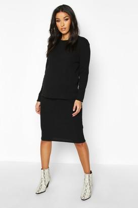 boohoo Maternity Knitted Rib Midi Skirt Co-ord Set