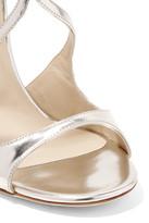 Jimmy Choo Lance Metallic Leather Sandals - Silver