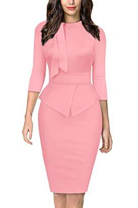 Moyabo Business Casual Dresses for Women Elbow Sleeve Stretch Waist Office Business Work Pencil Dresses
