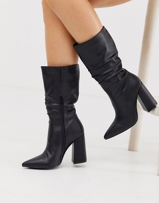 Truffle Collection slouch knee boots in black with block heel
