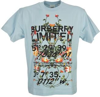 Burberry Montage Print Cotton Oversized T-shirt Ladslow Pale Blue