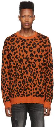 R 13 Black and Orange Leopard Crewneck Sweater