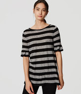 LOFT Petite Striped Ruffle Cuff Top