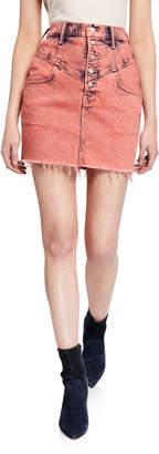Mother The Swooner Yoke-Front Frayed Mini Skirt