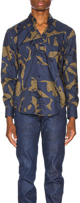 Naked & Famous Denim Easy Shirt in Navy Abstract Mod Print   FWRD