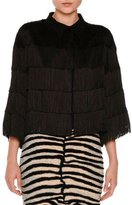 Stella McCartney Tiered Fringe 3/4-Sleeve Blouse, Black