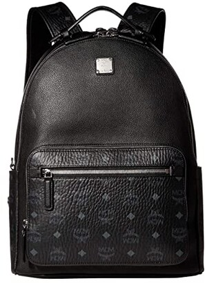 MCM 40 Stark Visetos Leather Mix Backpack (Black) Backpack Bags