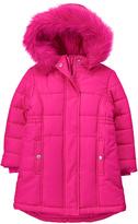 Gymboree Fuchsia Faux Fur-Trim Puffer Jacket - Toddler & Girls