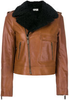 Saint Laurent cropped motorcycle jacket - women - Calf Leather/Sheep Skin/Shearling/Polyester/Cupro - 42