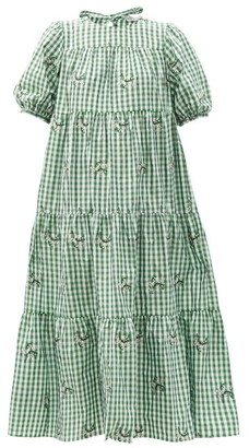 RED Valentino May Lily-embroidered Gingham Taffeta Dress - Green