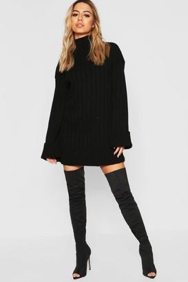 boohoo Petite Oversized Rib Knit Sweater Dress