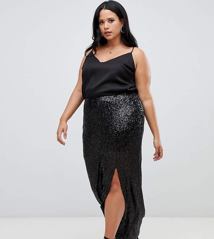 a388121719ed7d Long Black Sequin Skirt - ShopStyle