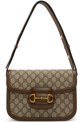 Gucci Beige and Brown GG Supreme 1955 Horsebit Bag