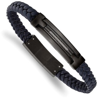 Chisel Stainless Steel Polished Black IP-plated Navy Blue Leather with .5 Inch Extension 8 Inch Bracelet
