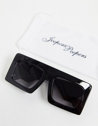 Jeepers Peepers womens flatbrow sunglasses in black