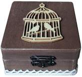Dovewill Shabby Chic Wooden Country Birdcage Wedding Ring Bearer Box Container Box