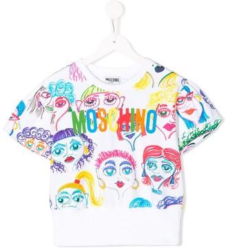 MOSCHINO BAMBINO TEEN cartoon faces print T-shirt
