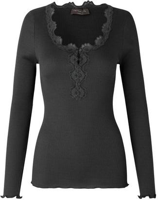 Rosemunde Blouse Long Sleeve W Buttons Black - XS