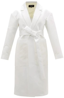 Rochas Belted Duchess-satin Coat - Ivory