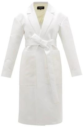 Rochas Belted Duchess-satin Coat - Womens - Ivory