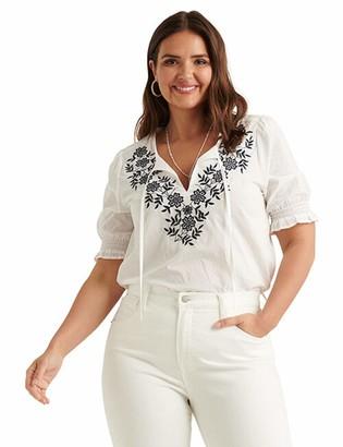 Lucky Brand Women's Short Sleeve Tie Neck Embroidered Feminine Blouse