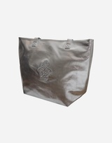 Metallic Silver Hamsa Design Tote Handbag