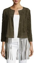 Haute Hippie Laser-Cut Suede Jacket With Fringe Trim, Green