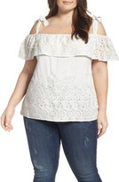 Lucky Brand Plus Size Women's Eyelet Embroidered Off The Shoulder Top