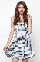 Lucca Couture Gingham Lace-Up Back Dress