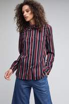 Anthropologie Hannelore Striped Ruffle Collar Blouse