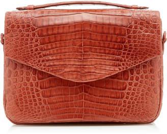 Nancy Gonzalez Lucy Large Linen-Trimmed Crocodile Bag