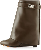 Givenchy Leather Shark-Lock Ankle Bootie, Khaki