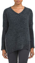 Juniors Chenille Sweater With Zips