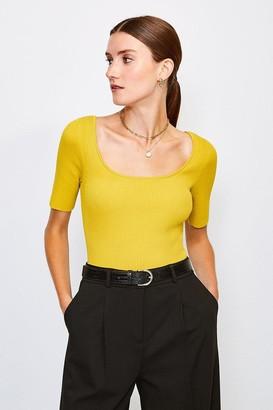 Karen Millen Knitted Rib Scoop Neck Top
