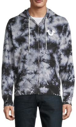 True Religion Logo Tie-Dyed Cotton-Blend Hooded Jacket