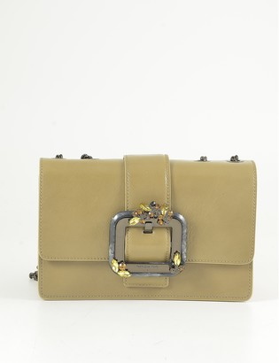 Patrizia Pepe Camel Leather Shoulder Bag w/Oversized Buckle