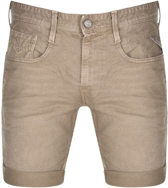 Replay Anbass Hyperflex Denim Shorts Brown