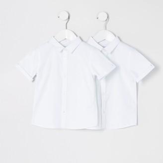 River Island Mini boys White short sleeve shirt 2 pack