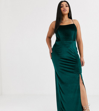 Club L London Plus velvet square neck maxi dress with thigh split in green