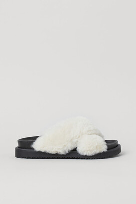 H&M Faux Fur Slippers - White