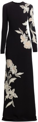 Oscar de la Renta Embroidered Floral Column Gown