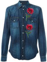 Dolce & Gabbana embroidered poppy denim shirt