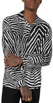 Topman Classic Fit Zebra Print Revere Shirt
