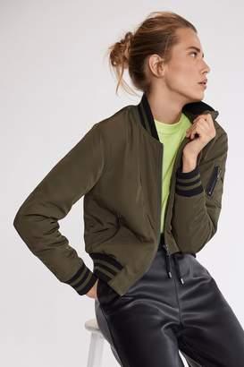 Mint Velvet Womens Green Khaki Zip Pocket Bomber Jacket - Green