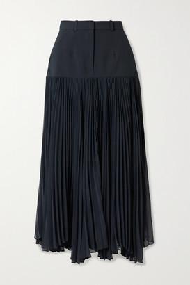 Rokh Paneled Woven And Pleated Chiffon Maxi Skirt - Midnight blue
