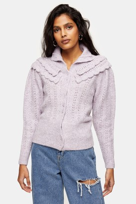 Topshop Lilac Frill Pointelle Knitted Cardigan