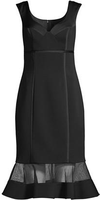 Aidan Mattox Mesh Flounce Midi Dress